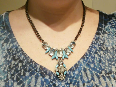 Teal Spaceship Sparkle Necklace